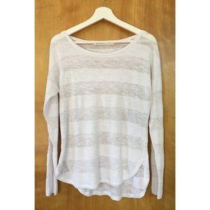 Athleta Linen White Stripe Sweater Size M